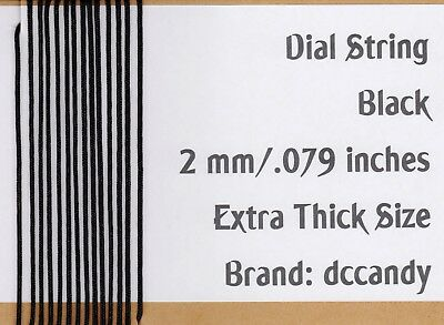 Radio Dial Cord 24 Ft BRAIDED Nylon String 2mm BLACK for Vintage Radio Tuner