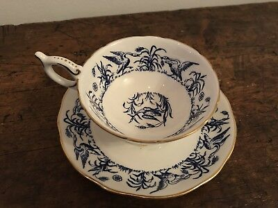 Vintage Tea cup and Saucer Coalport England Blue Bone China Birds