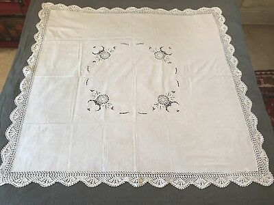 Vintage Unused Cutwork Lace Embroidered Tablecloth Linen White