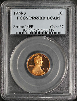 1974-S Proof Lincoln Cent PCGS PR-69RD DCAM -134543