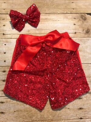 Girls Red Sequin Shorts With Matching Now Size 4-5 New boutique Style Sparkle