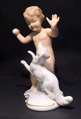 Wallendorf Porcelain Figurine of Young Boy with Dog by Kurt Steiner