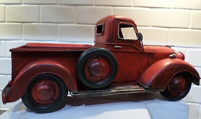 vintage old style red metal truck home decor fall christmas thanksgiving new - Christmas Truck Decor