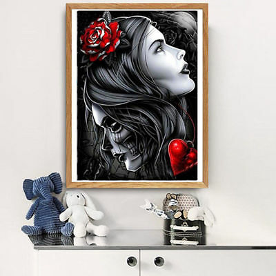 AU Beauty&Skull Full Drill 5D Diamond Embroidery Painting Cross Stitch Kit HN