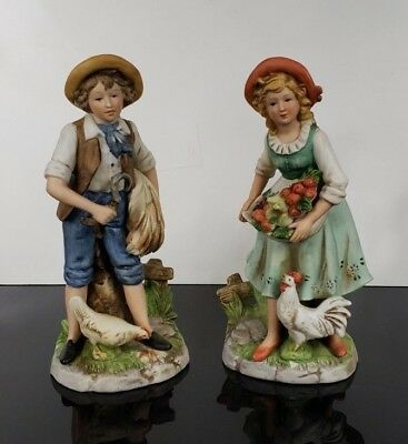 Home Interiors Homco 8881 Young Farm Couple Figurines Man Woman Harvest Chickens