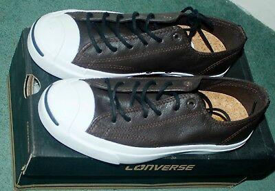 406b4c15d6d8 CONVERSE Men Jack Purcell Leather OX Brown WHITE UNISEX Ladies TRAINERS  Shoes 6