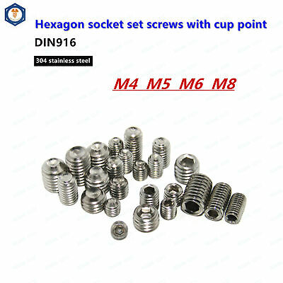 M4/M5/M6/M8 Stainless Steel Grub Screws Allen Socket Set Screws Cup Point DIN916