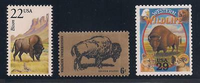 Buffalo / Bison - Beautiful Set Of 3 U.s. Postage Stamps - Mint Condition