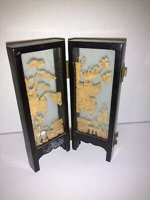 Vintage Asian Japanese Folding Wood Carved In Glass Diorama Black Table Screen