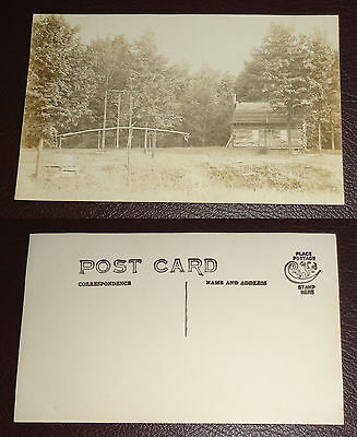 Antique Real Photo Postcard RPPC 1907-15 Log Cabin & Water Well Cyko Back
