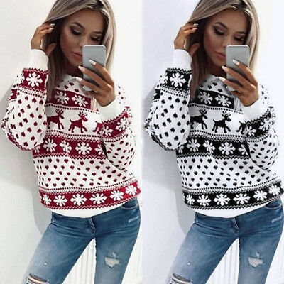 Christmas Xmas Women Thickening Jumper Sweater Retro Snowflake  Pullover Blouse​