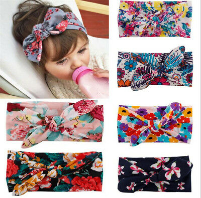 Baby Girls Bunny Bows Kids Turban Knot Rabbit Headband Hair Bands Head Wrap Lots