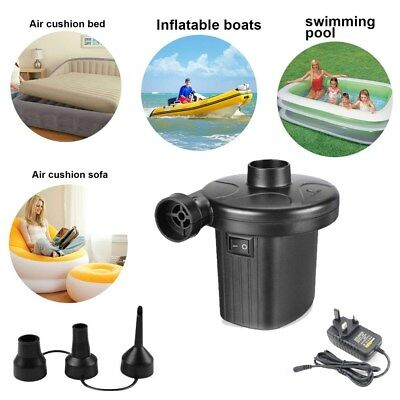 Electric Air Pump Inflator for Inflatables Camping Bed Pool 3 Nozzle UK Plug