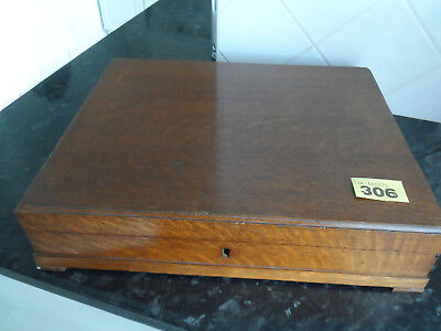 Vintage  Wooden  Oak 1930's Canteen Silver Cutlery Box Named Sections 45 Pieces