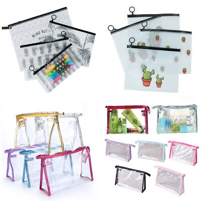 PVC Woman Makeup Zipper Pouch Pencil Pen Case Cosmetic Bag Clear Toiletry Holder