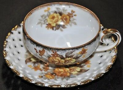 Vintage RELCO BONE CHINA Tea Cup Saucer Japan with Flowers & Gold Trim