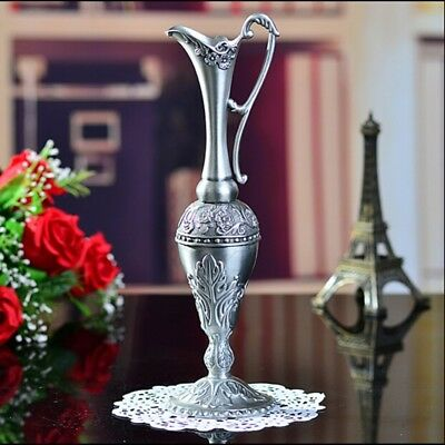 Elegant Egyptian Arabian Metal Vase Carved Silver Vintage retro decor