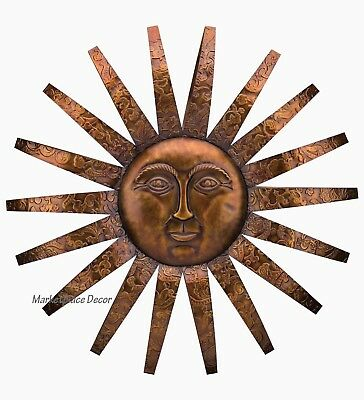 COPPER PATINA SUN Metal Wall Art Large Outdoor Wall Art 40 ...