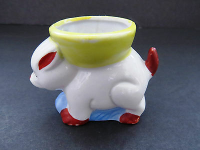 Vintage Ceramic Pig Egg Cup Hand Painted Wild Boar Egg Cup Collectible Brunch