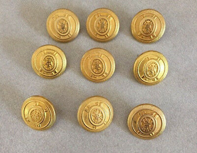 Lot 9 Vintage Military Navy Nautical Anchor Goldtone Brass Shank Buttons 2cm