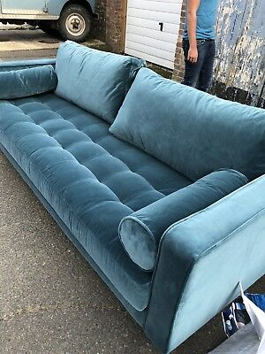 Made Com Scott 3 Seater Sofa Rrp 999 Petrol Blue Velvet Damaged