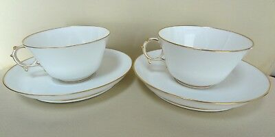 Excellent Pair of 19th Century White Sevres Cups and Saucers - dated 1855
