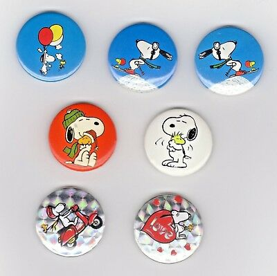 Peanuts Snoopy Woodstock Lotto 7 Pin Badge Spille In Metallo Cm 2,5
