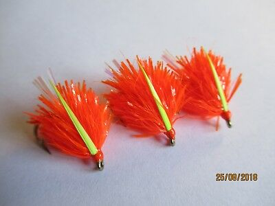 3X NEON WHITE /& CHARTREUSE DEVIL BLOBS FLY FISHING TROUT FLIES LURES SIZE 8 B130