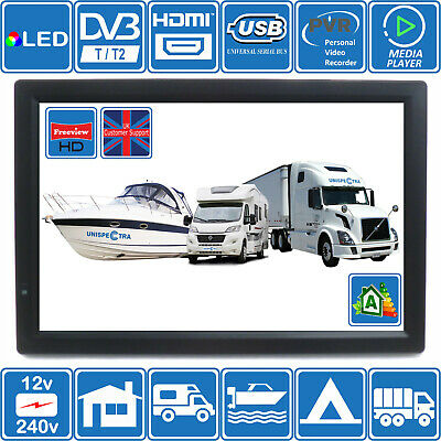 "MOTORHOME CARAVAN BOAT 14"" Inch Portable 12V & 240V LCD TV Freeview HD USB &PVR"