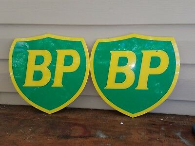 2 BP Gas Station Signs Pump Plate Not Porcelian Texaco Gulf or Esso Oil