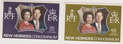 MNH stamps from New Hebrides dated 1972 - Queen Elizabeth II Anniversary