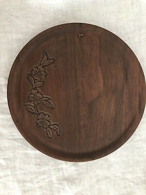 """Vintage Hand Carved Decorative Wooden Tray, 11"""" Round, Dogwood"""