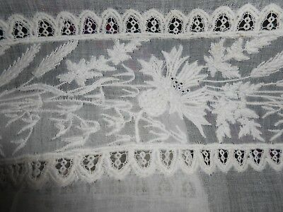 19TH CENTURY FRENCH WHITE EMBROIDERED TRIM 4 yrds