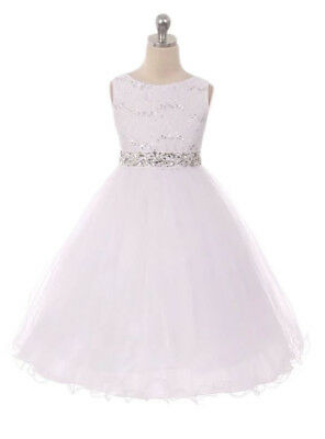 White Flower Girls Dress Rhinestones Easter Pageant Wedding Christmas Party Baby