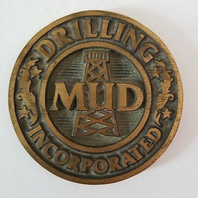 MUD Drilling Incorporated Bronze Oil Industry Paperweight Texas OMC EUC