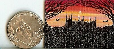Original 1x 1.5 Inch Dollhouse Picture Whimsical Gothic Rastle Ravens Art HYMES
