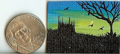 Original 1x 1.5 Inch Dollhouse Art Fantasy Gothic Castle Miniature Ravens HYMES