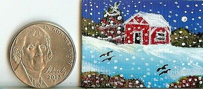 Original 1x 1.5 Inch Miniature Painting Art Cabin Snow Moon Collectible HYMES