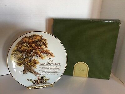 Avon 1989 5th Year Anniversary Porcelain Plate The Great Oak 22K Gold Trim NEW