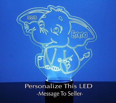 Cute Elephant Night Light - Personalize FREE Baby's Room LED Night Lamp Gift