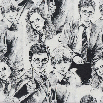 Harry Potter on White Hermione Ron Weasley Kids Licensed Quilting Fabric FQ *New
