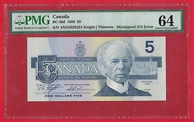 ✪ 1986 $5 Bank of Canada Note Misaligned Serial Number Error - PMG UNC-64