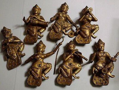 "Asian Wood Carved & Painted Musician Wall Hanging set of 7, 10"" Tibetan Siamese"