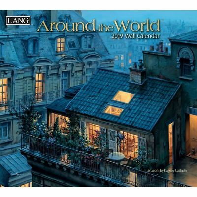 NEW Around The World Eugene Lushpin 2019 Lang Wall Calendar Packed Well