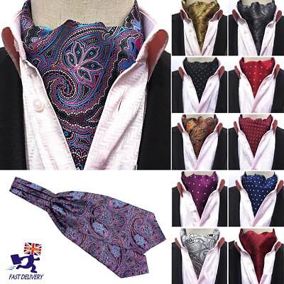 Gentle Men's Polka Dots Long Silk Scarves/Cravat Ascot Neck Ties Handkerchief UK