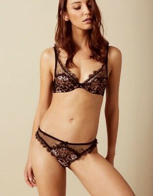 Agent Provocateur CARLI THONG AP Size 5 in BLACK LACE & ROSE GOLD - BNWT