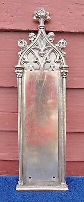 OLD GOTHIC brass or bronze commercial quality DOOR push? PLATE? HARDWARE VTG