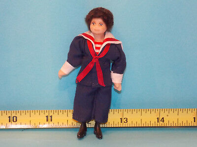 Sailor Boy Doll Artist Made Dollhouse Miniature 1/12 Handmade Posable Male Child