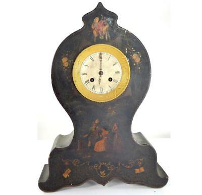N638 19Th Century French Vernis Martin Style Mantle Clock With Silk Suspension