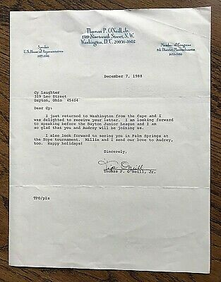 Tip O'Neill, Speaker 1977-1986, Letter to Cy Laughter, Bogie Busters 1988